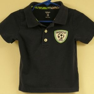 CARTER NAVY SHIRT,  WITH COLLAR, SIZE 18 M, USED